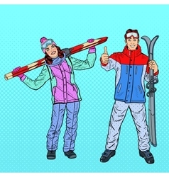 Pop Art Woman and Man with Ski on Winter Holidays vector image
