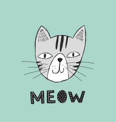 Poster with hand drawn funny cat vector