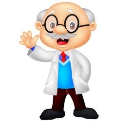 Professor cartoon waving hand vector