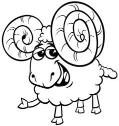 ram animal cartoon character color book vector image