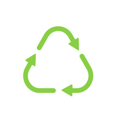 Recycle symbol green color triangle shape vector