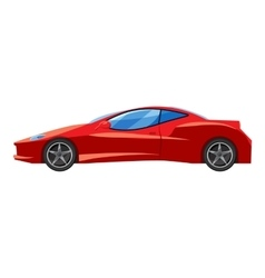 Red sport car side view icon isometric 3d style vector