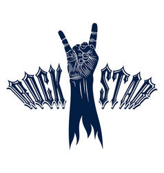 Rock hand sign hot music rock and roll gesture vector