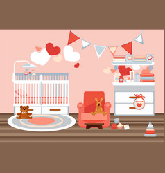 Room interior for newborn with decorations vector