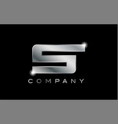 S silver metal letter company design logo vector