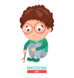Sad kid emotion vector