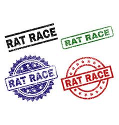 Scratched textured rat race stamp seals vector