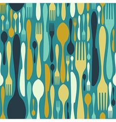 Seamless cutlery pattern in blue vector