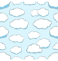 seamless pattern of clouds on blue sky vector image