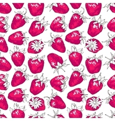 Seamless pattern with strawberries Hand-drawn vector