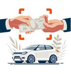 selling car hands transferring money vector image