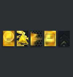 set abstract gold black posters realistic vector image
