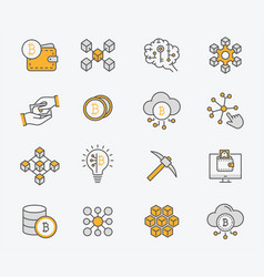 set blockchain icons editable stroke vector image