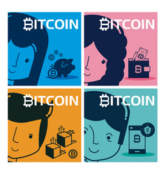 set of bitcoin cards and banners vector image