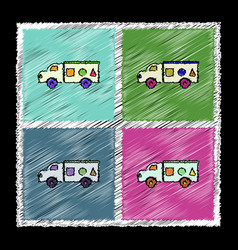 set of flat shading style icons kids truck vector image