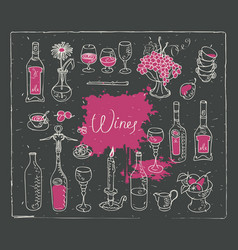 Set of images on the theme of wine vector