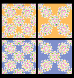set of seamless blue and orange vintage patterns vector image