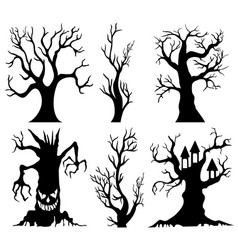 Set of spooky halloween tree cartoon vector