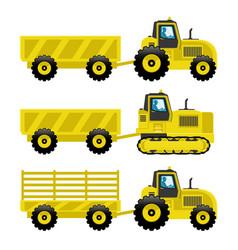 Set of yellow tractors vector