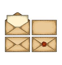 set paper envelopes different views color vector image