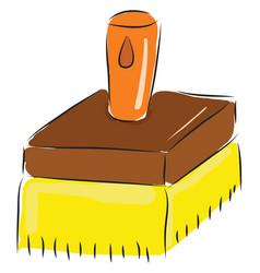 simple cartoon big yellow brush on white vector image