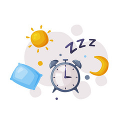 sleep alarm clock sleep and rest mode cartoon vector image