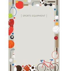 Sports Equipment Flat Icons Poster Frame vector
