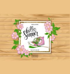 Summer discount banner sneakers vector