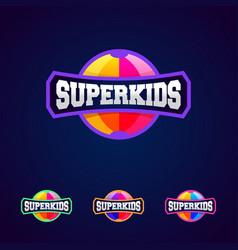Super kids super hero power full typography vector
