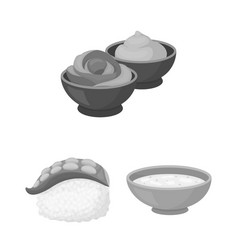 sushi and seasoning monochrome icons in set vector image