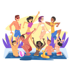 swimming pool party happy young men and women vector image