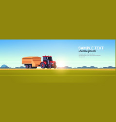 tractor with trailer heavy machinery working vector image
