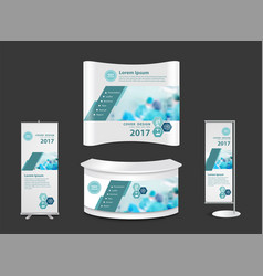 trade show booth mock up exhibition stand with vector image