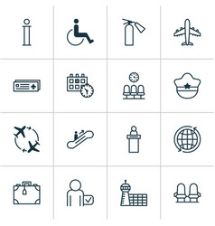 Traveling icons set collection accessibility vector