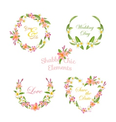 Tropical Wreath Set Tropical Flowers Floral Tags vector