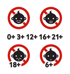 Warning sign age limit vector