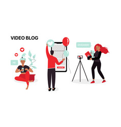 Youtube bloggers make content video vector
