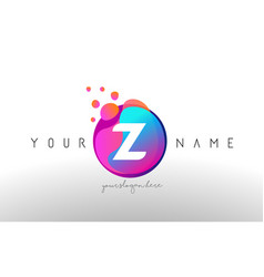 z dots letter logo with bubbles a letter design vector image
