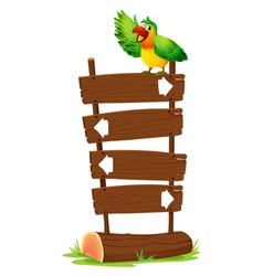 A colorful parrot at the top of a wooden signboard vector image vector image