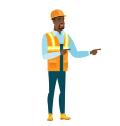 african-american builder pointing to the side vector image vector image