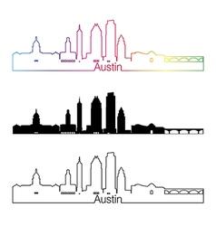 Austin skyline linear style with rainbow vector image vector image