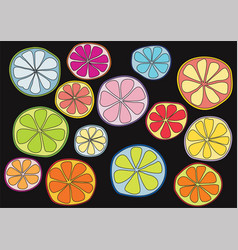 colorful citrus on black background vector image vector image