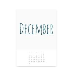 December 2017 Calendar Page vector image