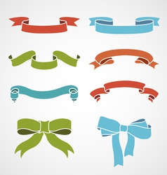 full color set of vintage ribbons vector image