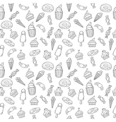 Hand drawn seamless pattern with sweets cupcakes vector image vector image