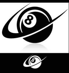 Swoosh eight ball logo icon vector