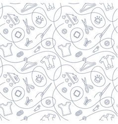thin line seamless pattern with sewing tools vector image