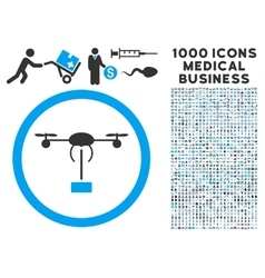 Copter Shipment Icon with 1000 Medical Business vector image vector image