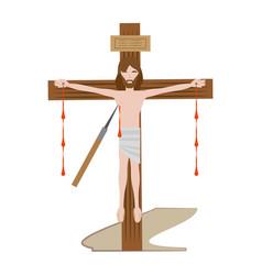 jesus christ dies cross - via crucis vector image