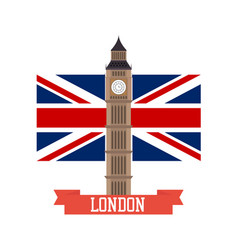 london concept big ben flat design with england vector image vector image